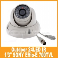 outdoor white CCTV camera, 1/3 SONY Effio-E 700TVL 24LED  Security  Video dome Camera waterproof
