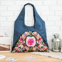 2013 cross-body female embroidery flower portable national trend female bags vintage denim blue canvas