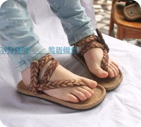 Summer handmade 2013 tatbeb hemp shoes flat heel flip flops women's flip flops sandals shoes