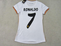 Top thai,100% same as official,La liga bbva,Real madrid home for women 2013/2014,23#ISCO,24#ILLARRA,7#RONALDO,aaa-jerseys