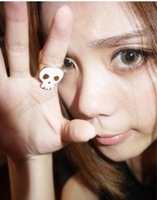 Min order $10 Accessories fashion vintage punk women's ring double faced glaze skull ring