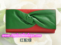 Red and Green Cowhide Clutch Bag with Metal Chain