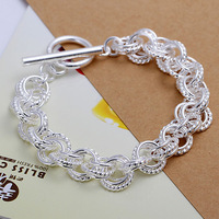 H016 wholesale jewelry 925 silver three circles charm bracelet,925 sterling silver fashion jewelry bracelets & bangles