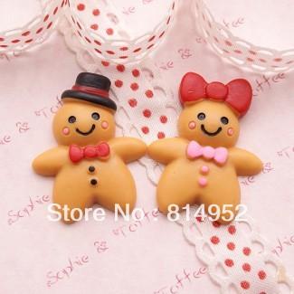 Free Shipping 40Pcs/lot Very Hot and kawaii cute Mr & Mrs Gingerbread Man Cabochon phone case resin DIY phone decoration(China (Mainland))