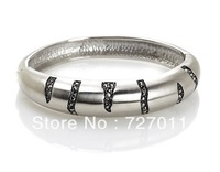 Free Shipping (300pcs/lot) Stainless steel round and open crack bangle paved with rhinestones