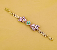 Free shipping 2013 Summer New York Pink Crystal Bowknot Design  Bracelet
