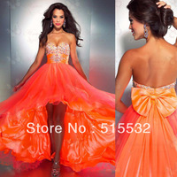 Free Shipping! Hot Sale Sexy Sweetheart Pleat Beads Bow Chiffon Prom Dresses Party Dress Evening Dresses N3329