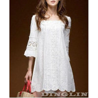 Hot Fashion Womens Korean Party Clubwear Short Sleeve Square Neck Crochet Lace Mini Dress White Size S Free Shipping 0114