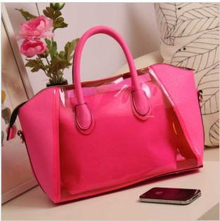 2013 women's transparent handbag transparent smiley bag handbag messenger bag candy shoulder bag jelly candy handbag