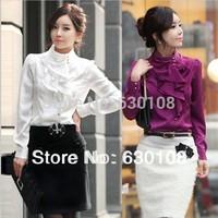 S-XL 2014 New Hot Autumn fashion women blouses clothes Casual Career Slim tops plus size  temperament flounced silk fall shirt