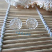 White crystal rose stud earrings girlfriend gifts