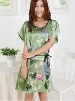 2013 New Chinese Peony nightgown pajamas women's sleeveless silk nightgown plus size large sexy silk sleepwear Freeshipping