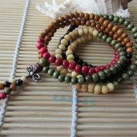 Sandalwood beads bracelet 216 rosary colorful beads bracelet