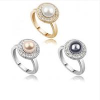 Accessories ring elegant full rhinestone pearl ring cute princess - - c18