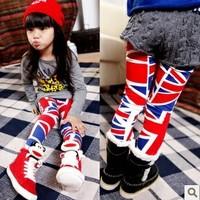 5pcs Children girl's  fashion torx flag personalized legging skinny pants a8908