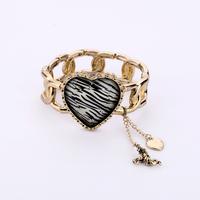 Free shipping 2013 Summer Vintage Cooper Big Heart Charm Zibra Print Braided Chain Bracelet