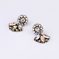 Free shipping New York Design AB color Crystal Small Ear Studs