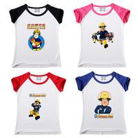 Free shipping 2013 new children's cotton summer Fireman Sam T-shirt boy girl children's clothing