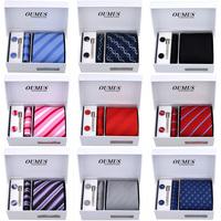 Hot sale 6pcs/set polyster  ties Men's Ties Necktie Plaid Stripe Mans Tie width 9cm Neckties gift box free shipping