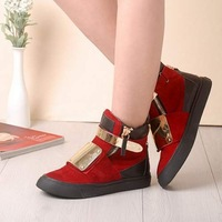 Gz 2013 Wine red metal endurably single-button zipper velcro high women's sneaker shoes
