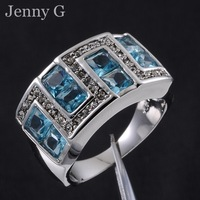 Jenny G Jewelry Size 9,10,11 Aquamarine 10KT White Gold Filled Charm Band Ring for Men