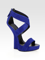 2013 newest arrival sexy high heel wedged blue suede sandals super quality sheepskin leather sandals