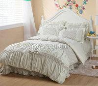 girls beige flower floral 4pcs king/queen comforter duvet covers princess bow frill korean style 100% cotton bed linens