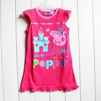 Drop Shipping Brand New Summer Girl's Peppa Pig Dresses baby fashion cotton Peppa Pig dresse costume for  kids Hot selling