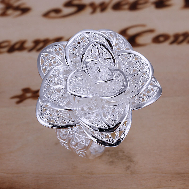 Promotion,free shipping,high quality silver ring jewelry,Fashion jewelry,wedding flower ring,wholesale,factory price LCR116(China (Mainland))