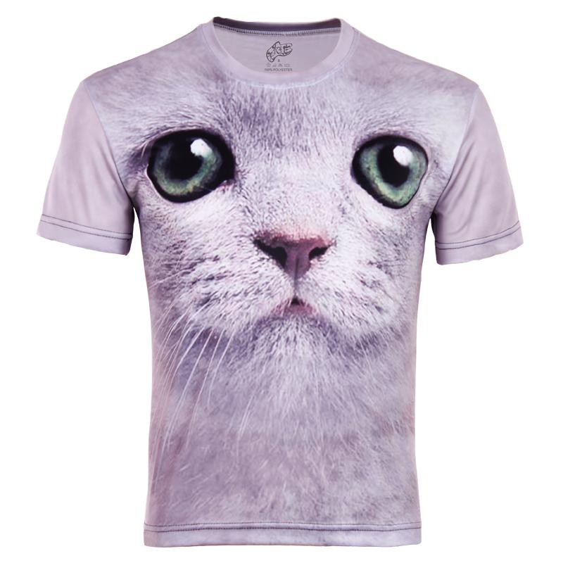 Plus Size New Basic shirt cat 3d head portrait print plus size plus size male short-sleeve o-neck T-shirt(China (Mainland))