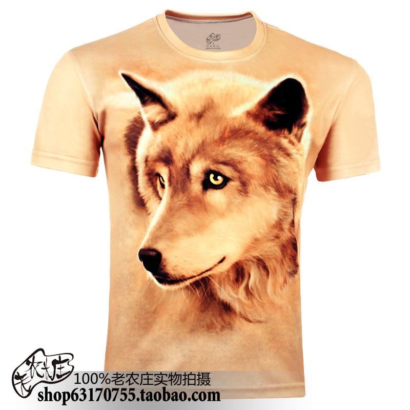 Summer fashion men's clothing gold 3dt plus size basic personalized animal short t-shirt male short-sleeve T-shirt(China (Mainland))