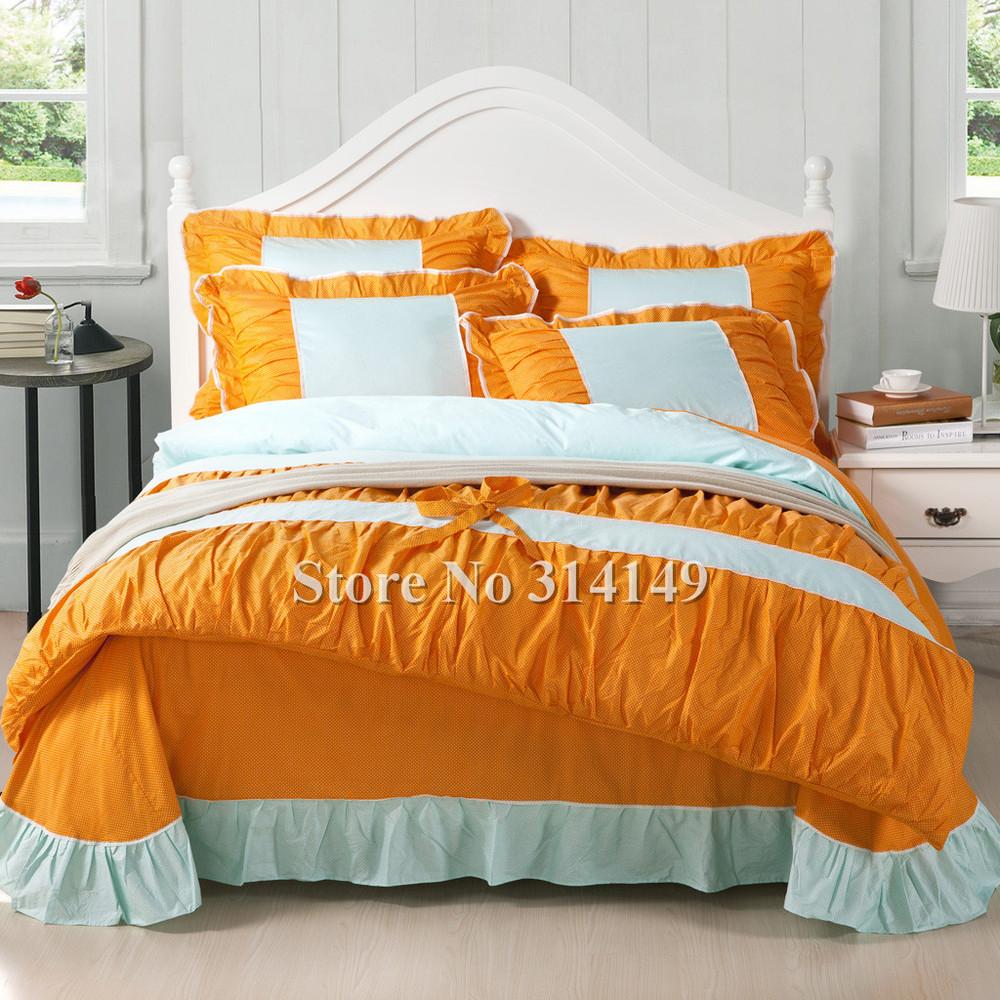Wholesale 4pcs king queen girls orange blue bi color - Orange and blue comforter ...