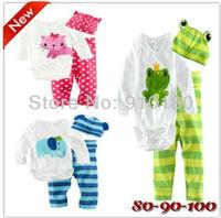 Free Shipping!!! 3 sets/lot baby boy/girl cartoon long sleeve romper+long pants+hat 3pcs set soft cotton cool clothing set