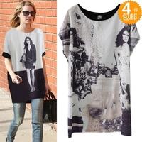 2013 fashion summer loose medium-long plus size silk print short-sleeve t-shirt