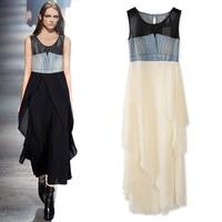 2013 summer denim patchwork fish tail chiffon layered one-piece dress irregular