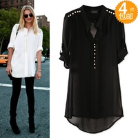 2013 pearl button crochet lace stand collar pullover medium-long chiffon shirt female shirt