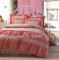 new arrivals girls comforter duvet covers 4pcs king/queen princess korean style cotton orange flower floral frill bed linens