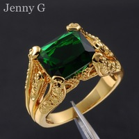Jenny G Jewelry  Size 10 Retro Green Emerald Gem 18K Yellow Gold Filled Claw Ring for Men Nice Gift