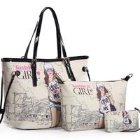 Free shipping 2014 new fashion handbag Female bag hot selling summer women's  package print shoulder handbag 3 pieces set