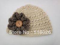 Wholesale 10pcs/lot Crochet Baby Hats flower Newborn Photography Simple Elegance Crochet Beanie Hat Girl