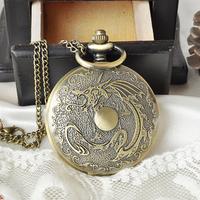 New Bronze Antique Dragon Vintage Pocket Watch Quartz Watch Clock Hours Gift