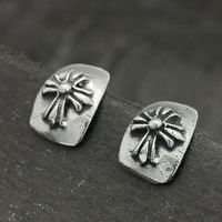 Quality 316L Stainless Steel Gothic Shield Stud Earrings For Men Gift 2014 New Fashion Jewelry Free Shipping