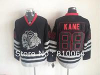 new arrival jerseys #88 Patrick Kane black skull jersey Blackhawks hockey jersey
