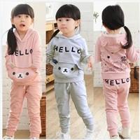 Autumn Kid girls jogging suit pink Children's boys/ girl Cartoon Bear Sport Coat  and Pants Clothes set tracksuit sweat suits