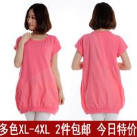 2013 women's shirt plus size 100% cotton short-sleeve top female T-shirt mm short-sleeve pullover