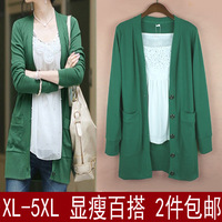 2013 autumn plus size v-neck short sleeve medium-long T-shirt mm long-sleeve cardigan sweater outerwear