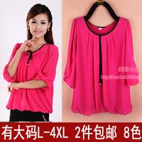 2013 spring and summer plus size half sleeve chiffon shirt top loose chiffon shirt mm basic chiffon t shirt