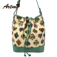 Free shipping women's handbag poker print vintage messenger bag bucket bag