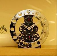 Seiji gear clock metal skeleton gear clock wall clock black silver clock