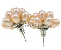 Free shipping!!!Freshwater Pearl Earrings,Personality, Cultured Freshwater Pearl, iron post, Flower, pink, 20mm